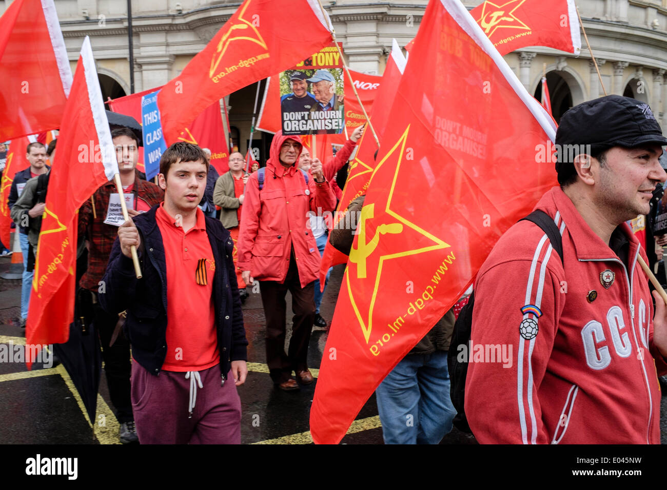 Members of the Communist Party of Great Britain participate in the annual  May Day march and  rally in London - Stock Image