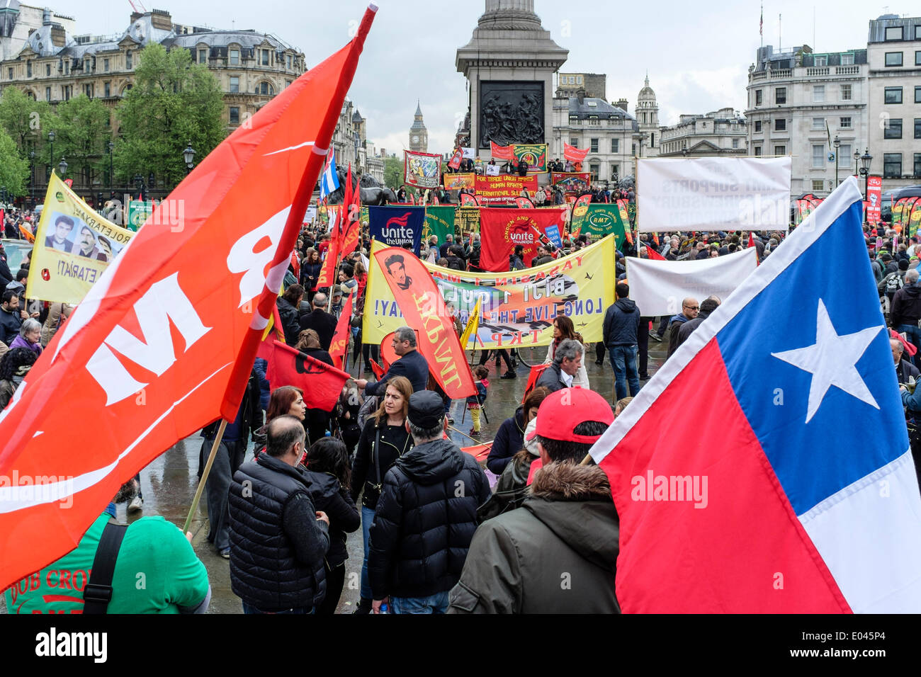 London UK, 1st May 2014 May Day marchers gather in Trafalgar Square for rally and to listen to speeches from union - Stock Image