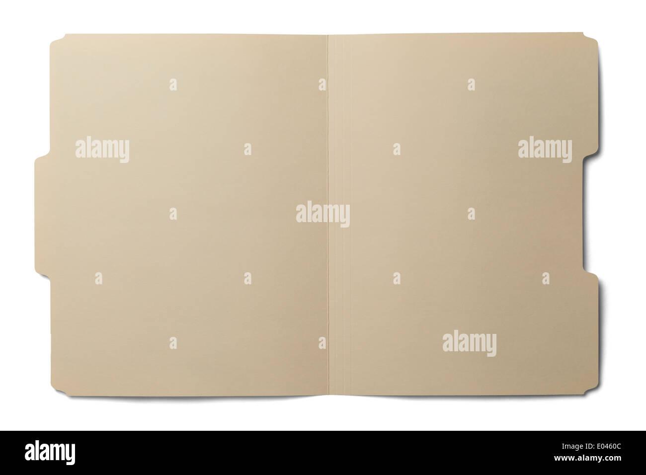 Manila folder open and empty isolated on white background. - Stock Image