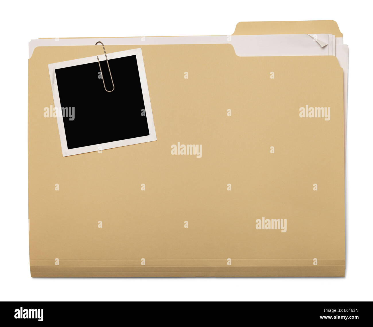 Folder with Papers Stuffed Inside with Photo on Top Isolated on White Background. - Stock Image
