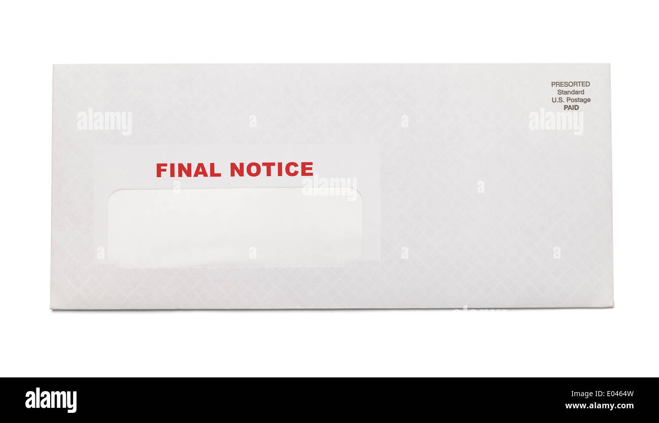 White Business Envelope with final notice stamped on it isolated on white background. - Stock Image