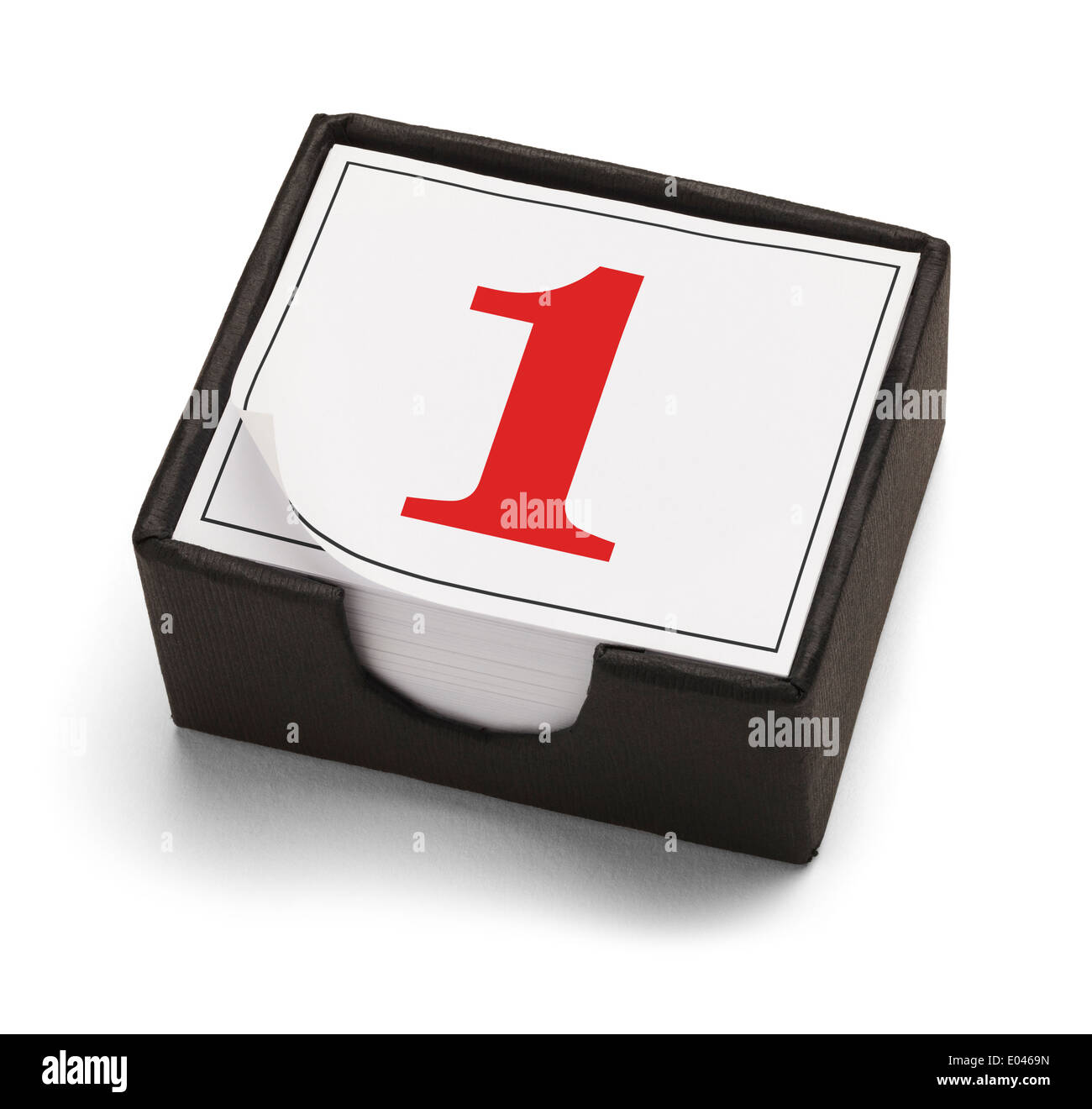 Desk Calendar with Day One or Number 1 in Red Isolated on a White Background. - Stock Image
