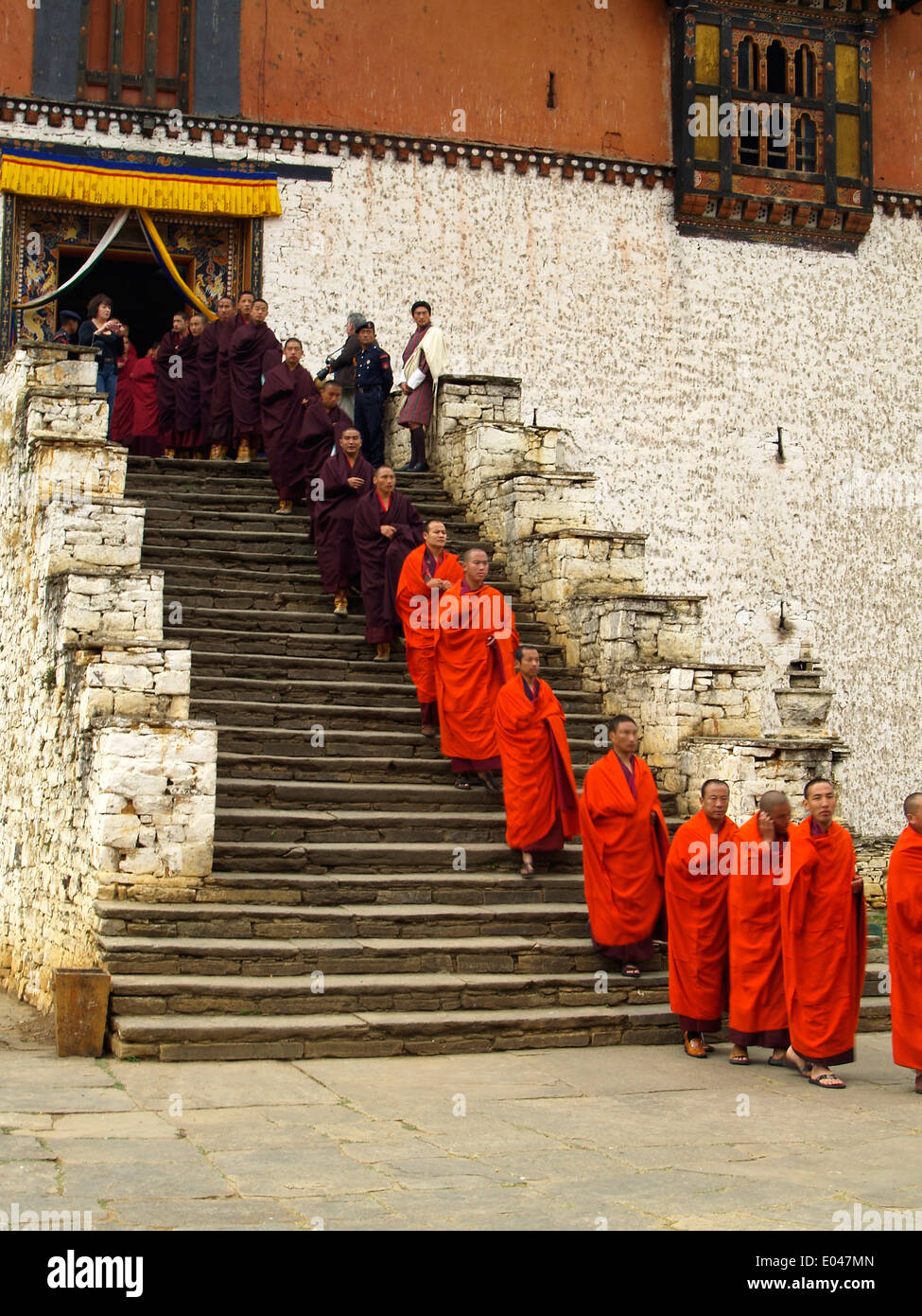 Monks processional at the Tsechu Festival in Paro,Bhutan - Stock Image