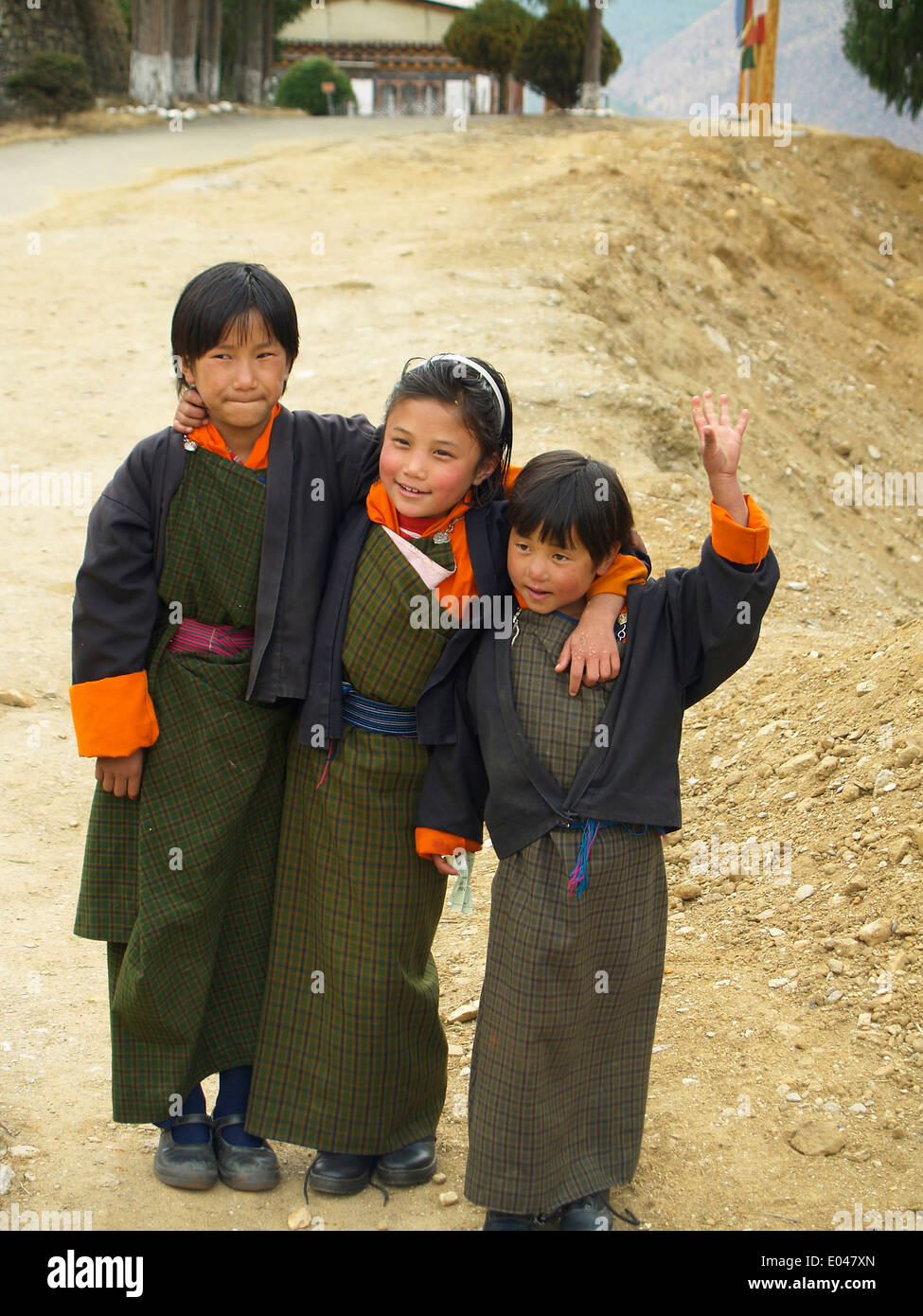 Bhutanese school children,Paro - Stock Image
