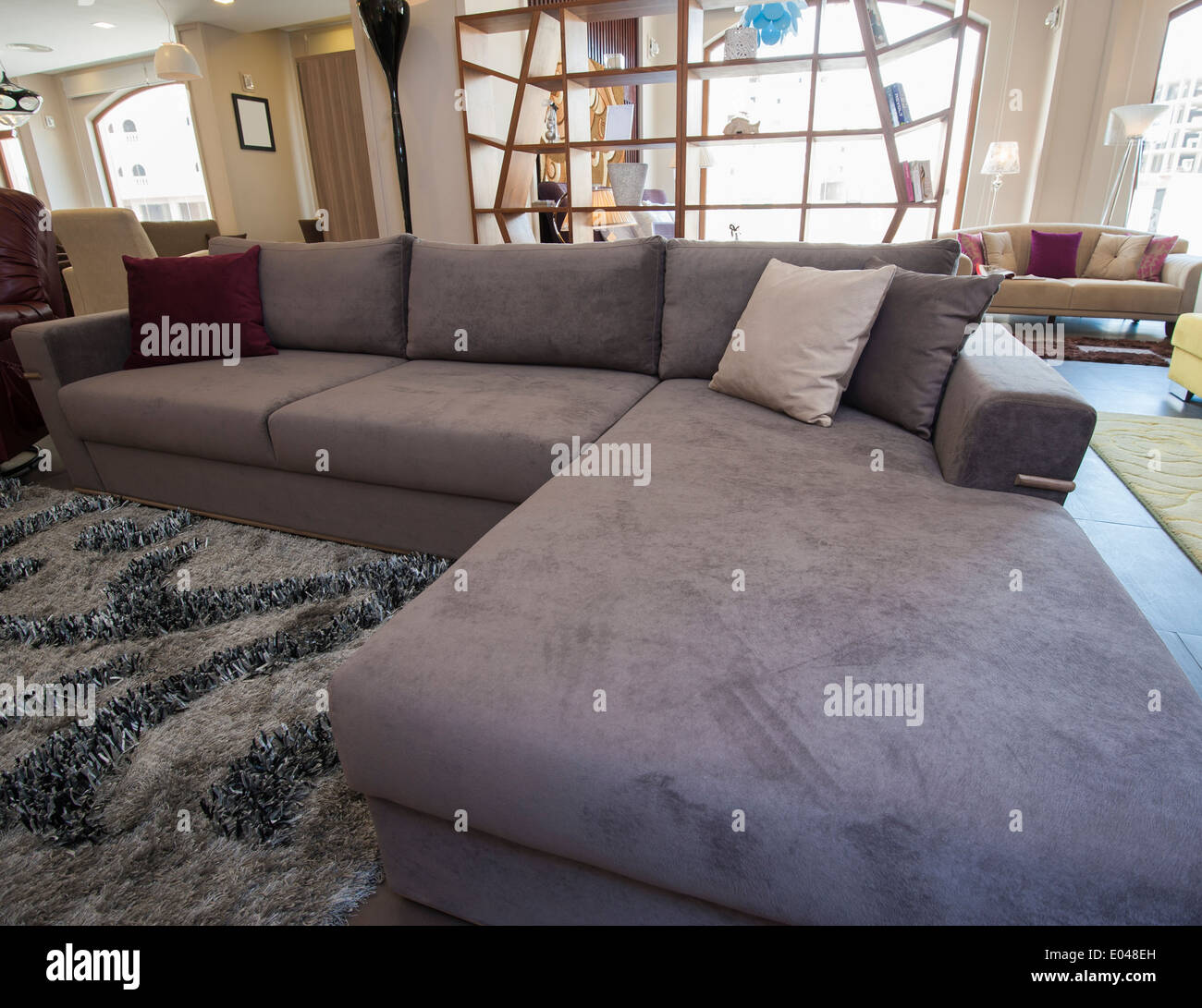 Picture of: Large L Shaped Corner Sofa In Living Room Furniture Show Home Stock Photo Alamy