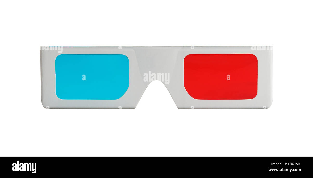 3-D Glasses form the front view Isolated on White Background. - Stock Image