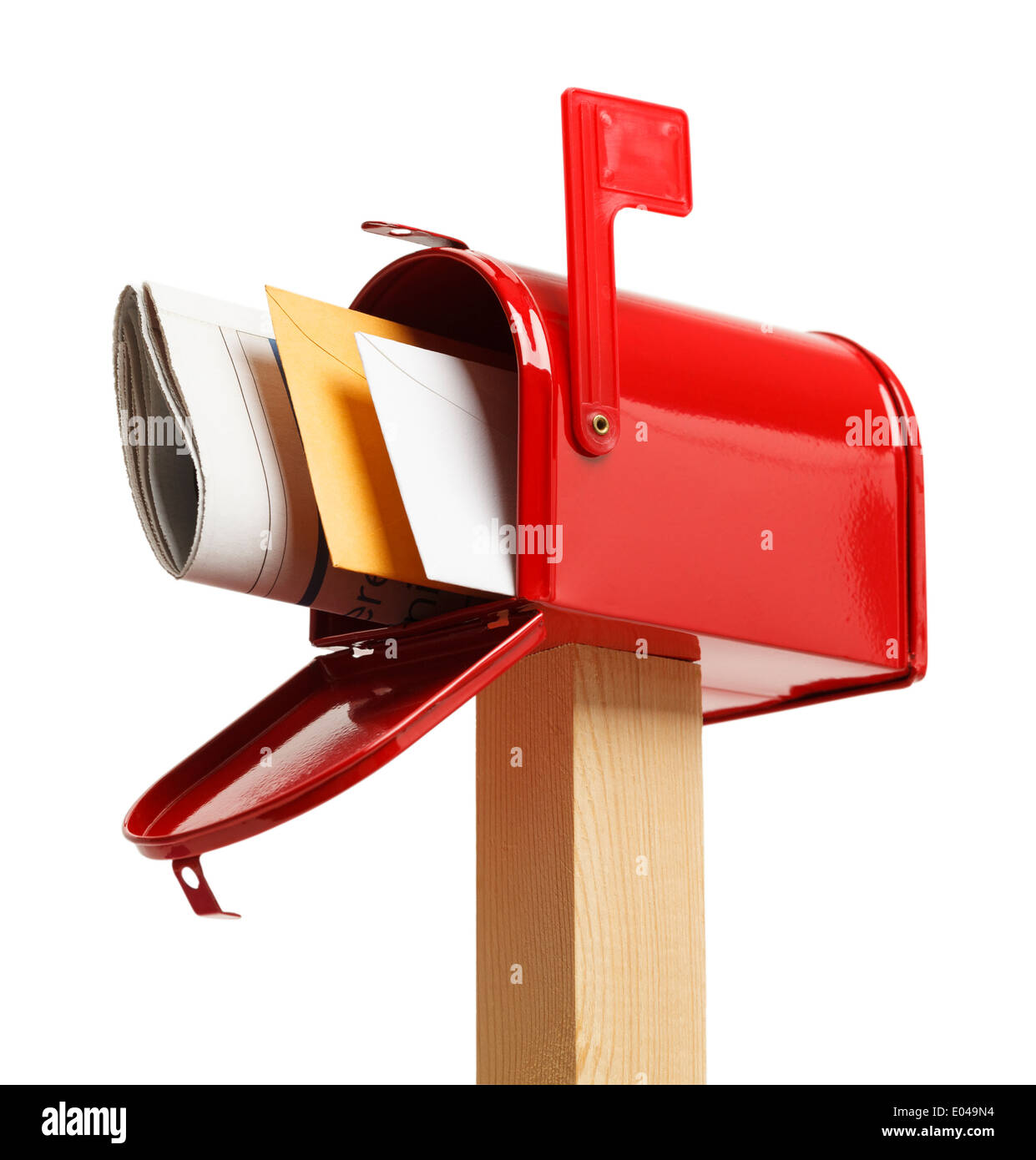 Red Mailbox with mail Isolated on White Background. - Stock Image