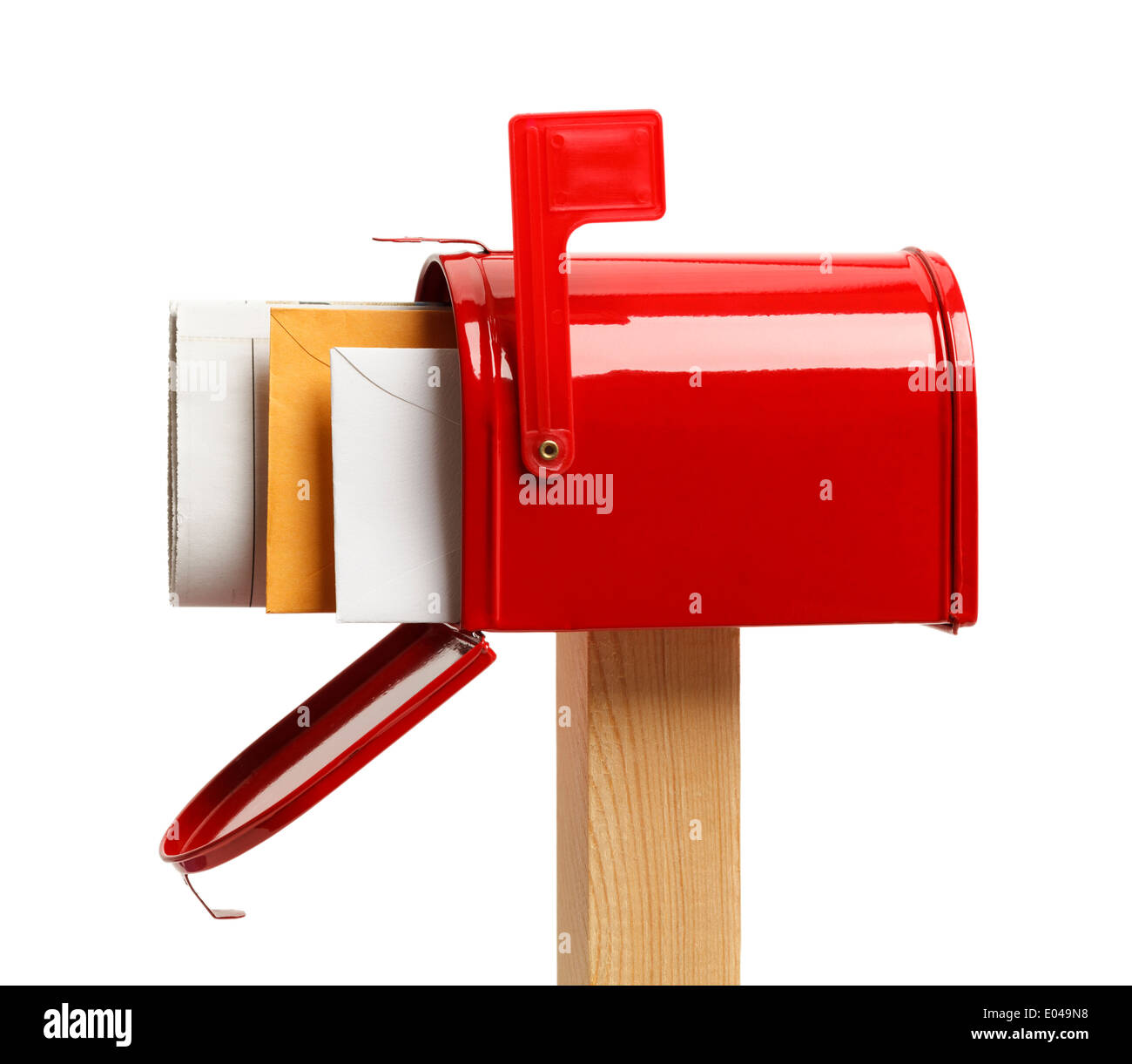 Side View of an Open Red Mailbox With Mail Isolated on White Background. - Stock Image
