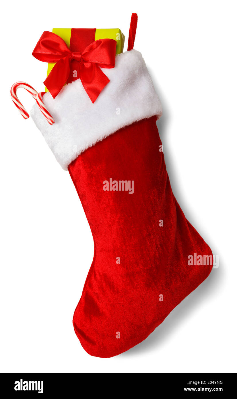 Christmas Stocking with Presents Isolated on White Background. - Stock Image