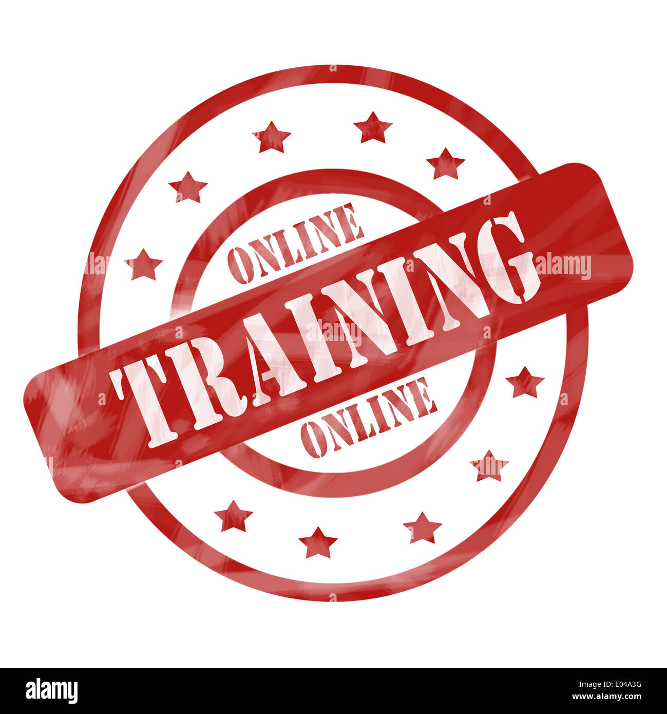 A Red Ink Weathered Roughed Up Circles And Stars Stamp Design With The Words ONLINE TRAINING On It Making Great Concept