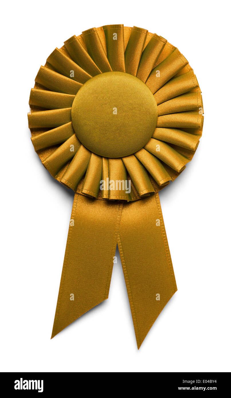 Golden Award Ribbon Isolated on White Background. - Stock Image