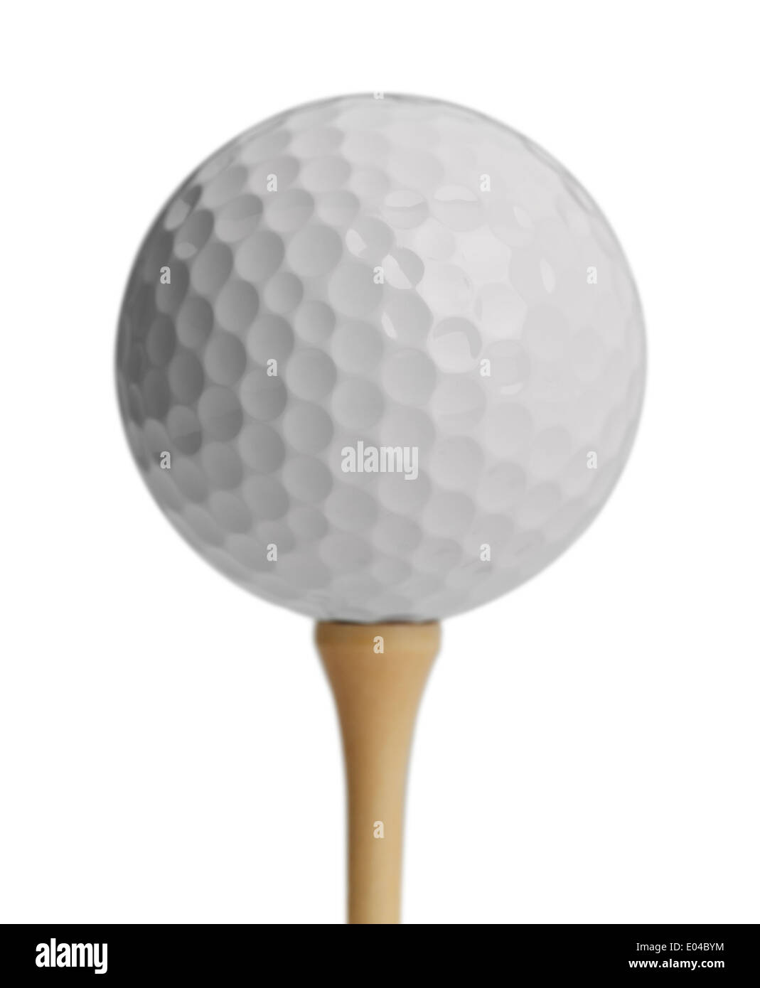 White Golf Ball On Tee Isolated on White Background. - Stock Image