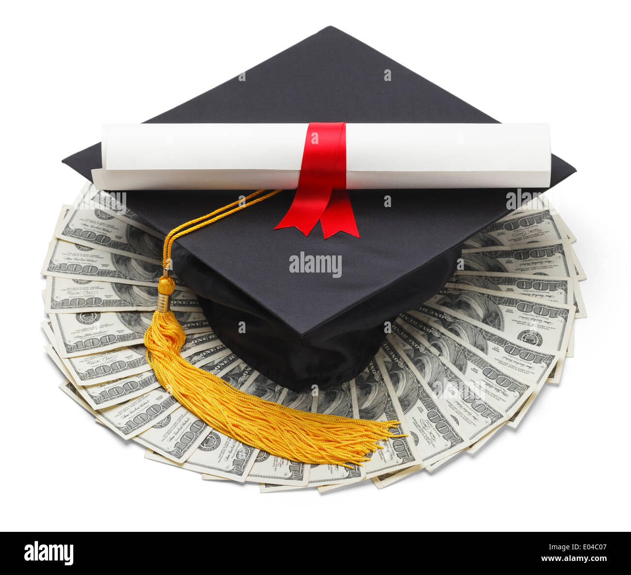 Graduate Hat with Degree and Cash Money Isolated on White Background. Stock Photo