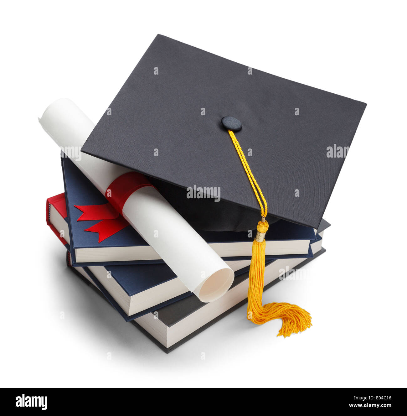 Books with Graduation Cap and Degree Isolated on White Background. - Stock Image