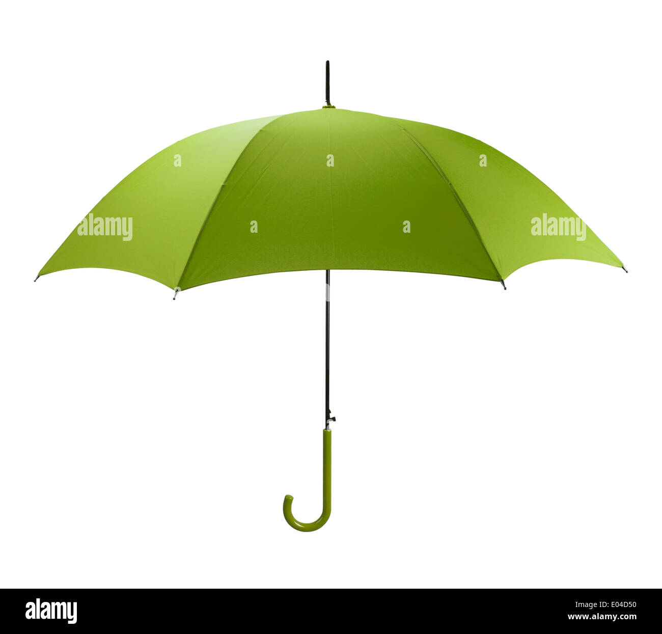 Bright Green Umbrella Side View Isolated on White Background. - Stock Image
