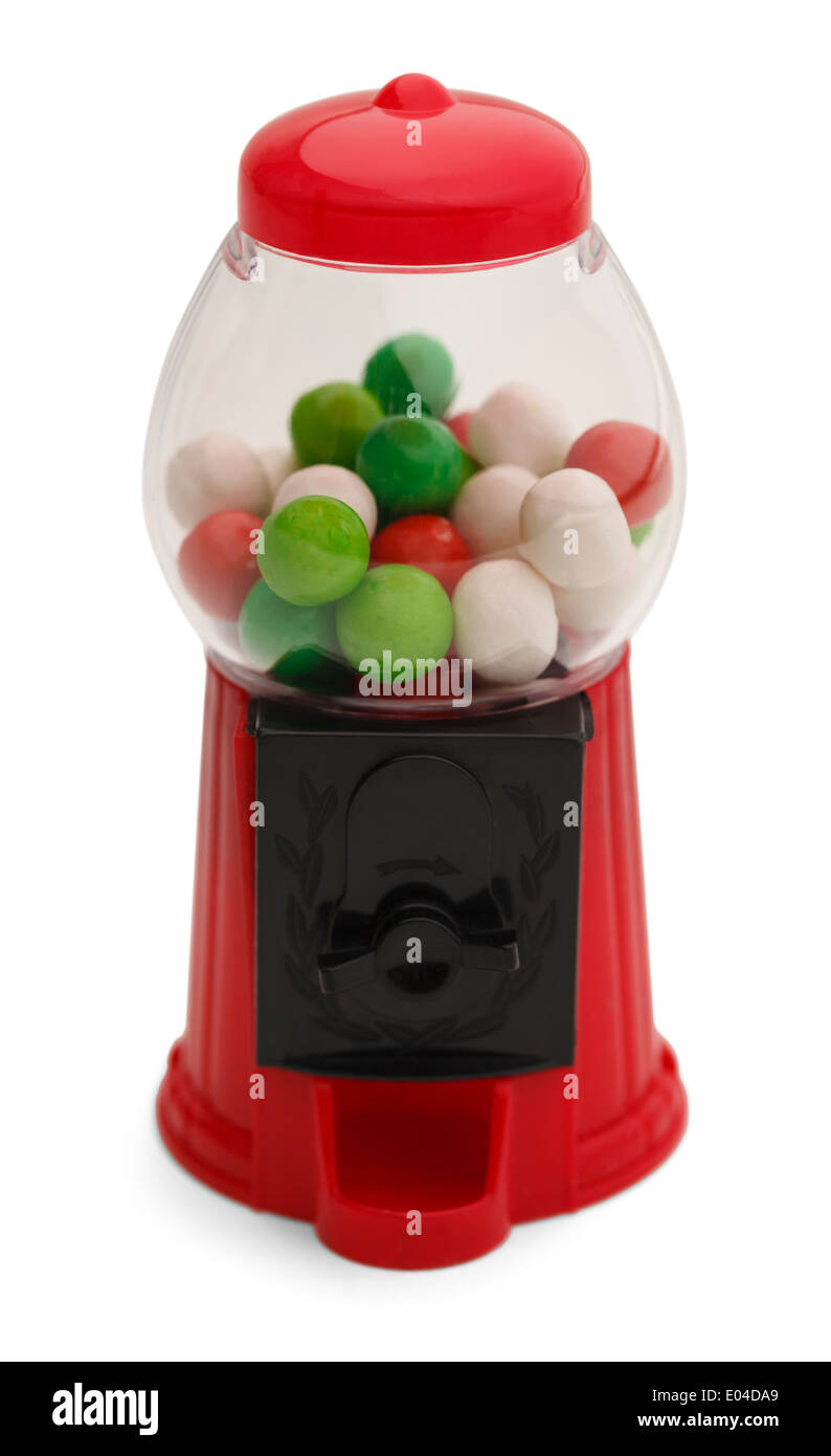 Small Gum Ball Machine Isolated on White Background. - Stock Image