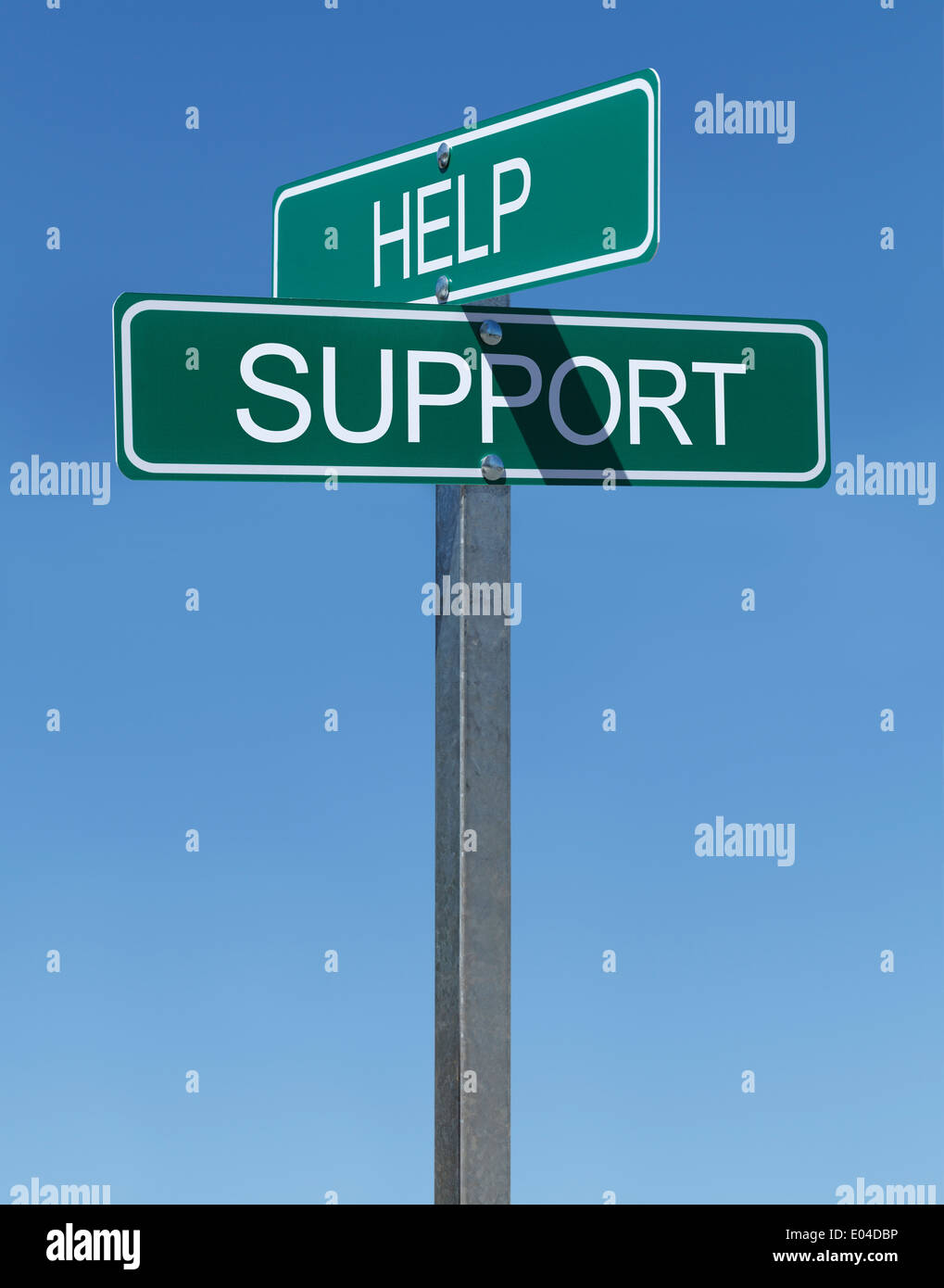 Two Green Street Signs Help and Support on a Metal Pole With Blue Sky Background. - Stock Image