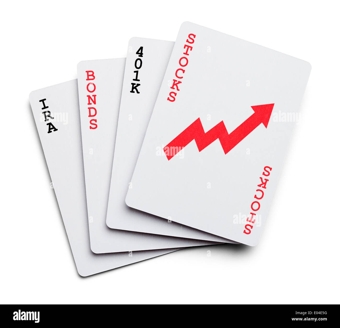 Playing Cards as Investment portfolio with the words Stocks, Bonds, IRA Isolated on White Background. - Stock Image