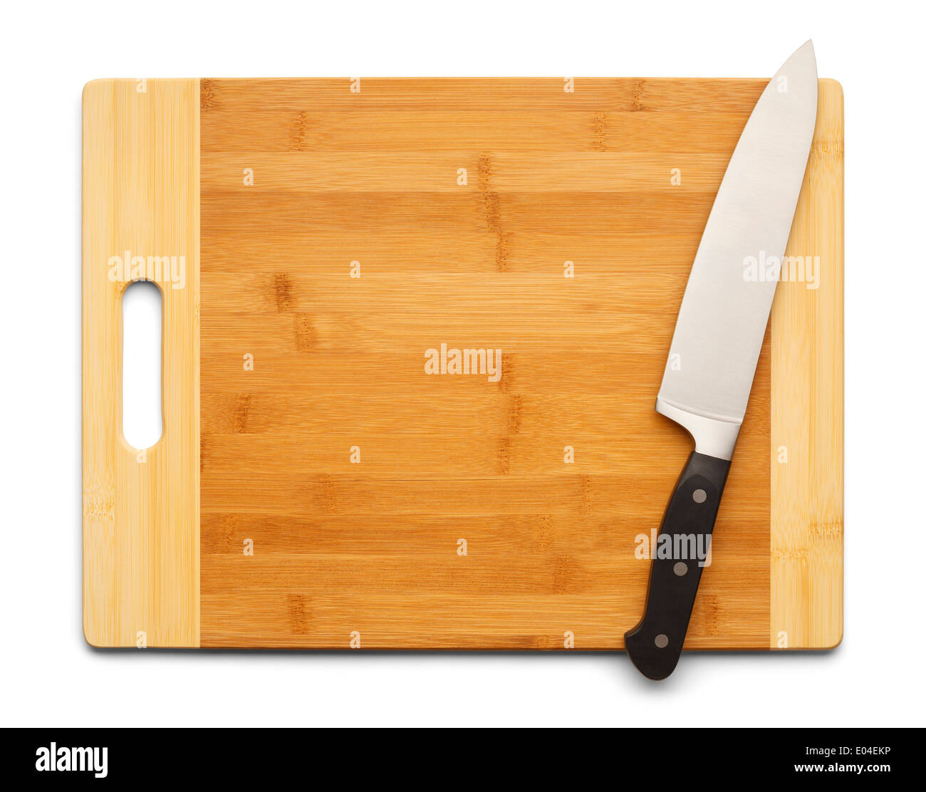 Bamboo Cutting Board with Kitchen Knife Isolated on White Background. - Stock Image