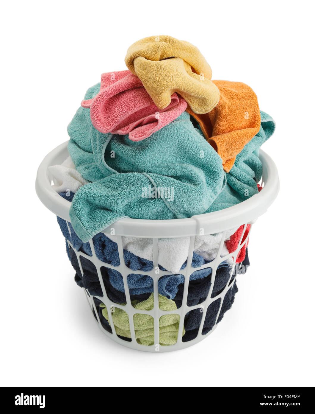 Basket of Unfolded Towels Isolated on White Background. - Stock Image