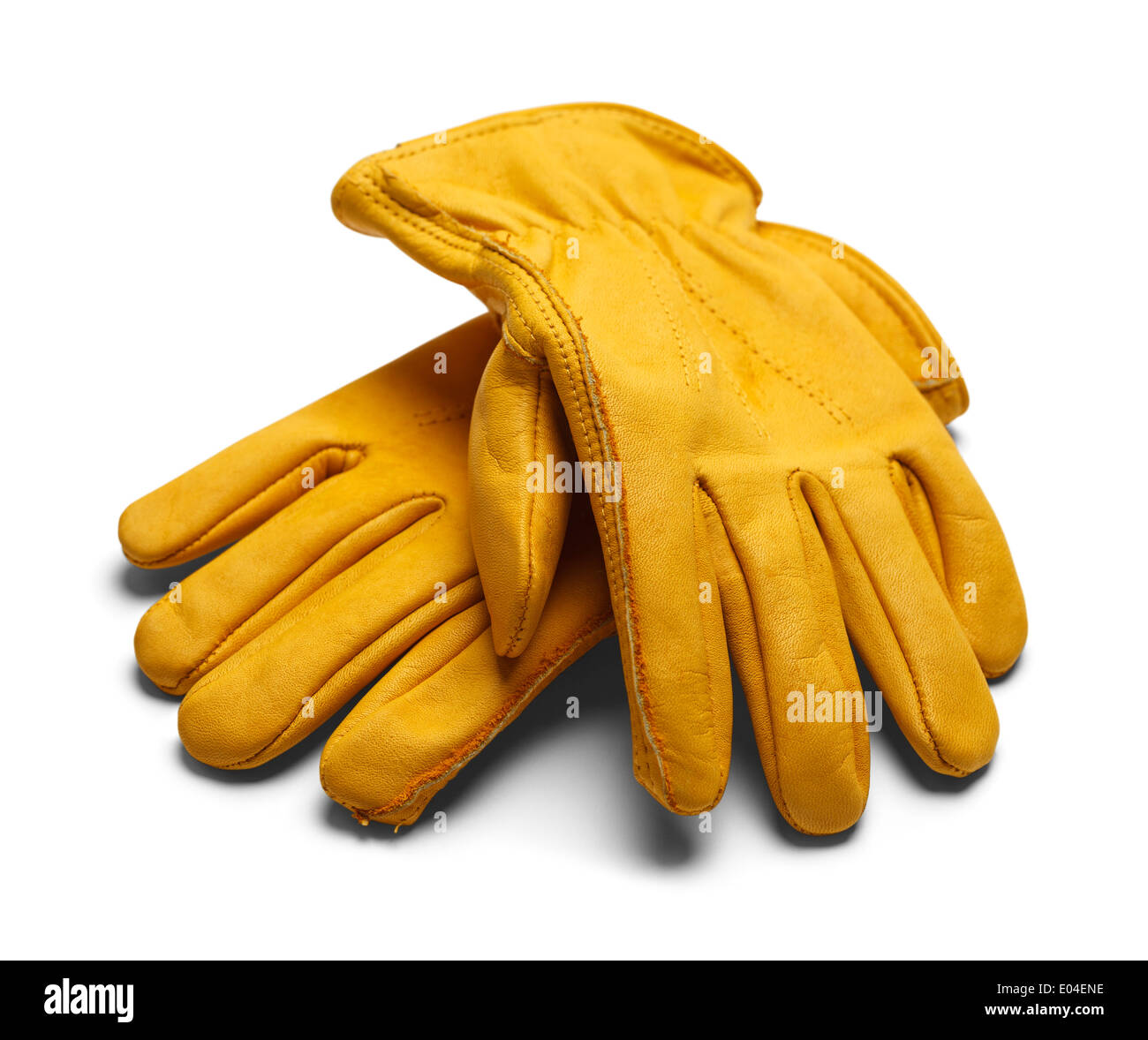 Yellow Construction Work Gloves Isolated on White Background. Stock Photo