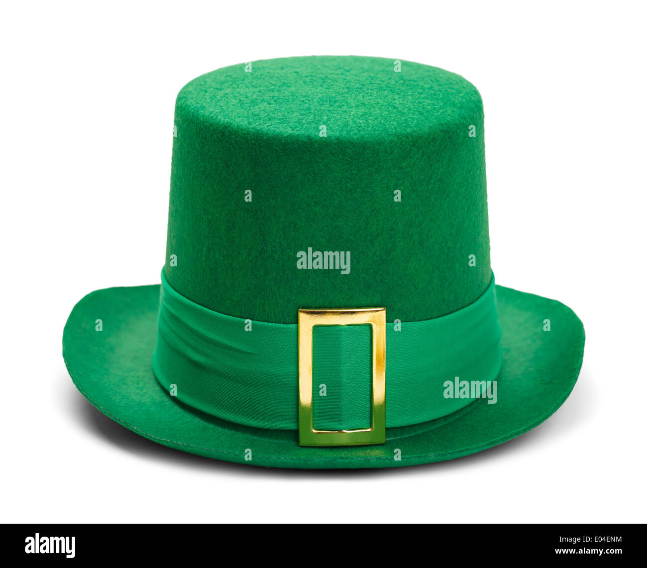 Green St. Patricks Day Felt Top Hat With Gold Buckle Isolated on White Background. - Stock Image