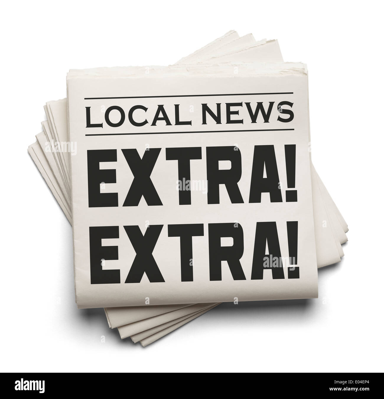 Stack of Local Newspapers with the Words Extra! Extra! Isolated on a white Background. - Stock Image