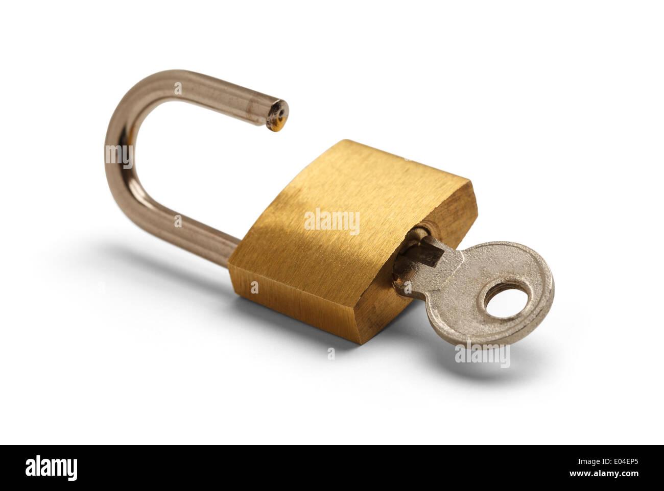 Brass Padlock Unlocked with Key Isolated on White Background. - Stock Image