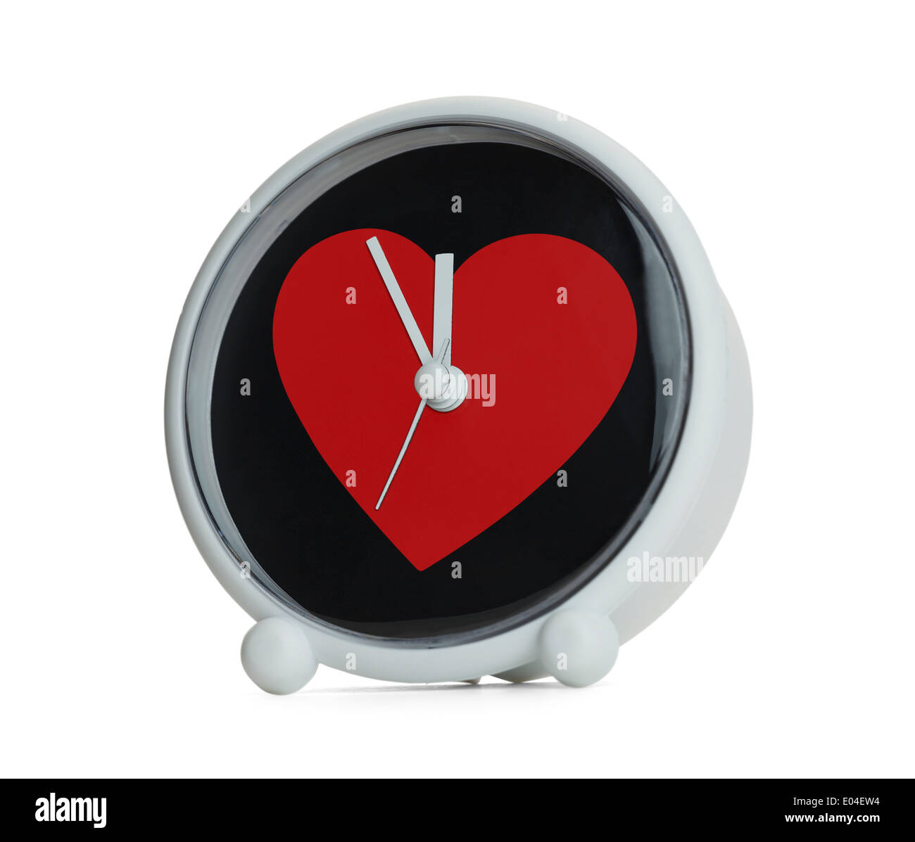 Love take time, Red Heart on Clock Isolated on White Background. Stock Photo