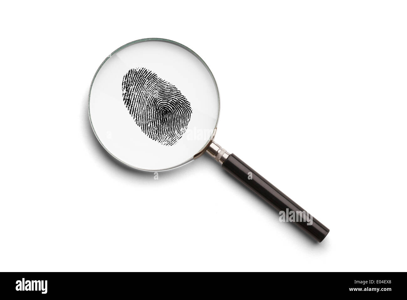 Magnifying Glass with Finger Print Isolated on White Background. - Stock Image