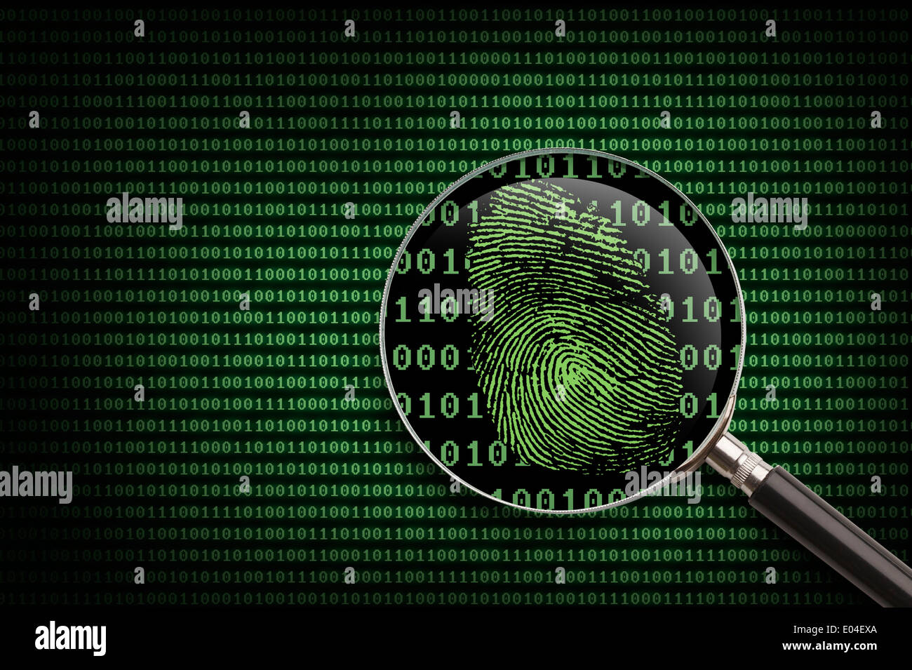 Magnifying Glass searching code for online activity. - Stock Image