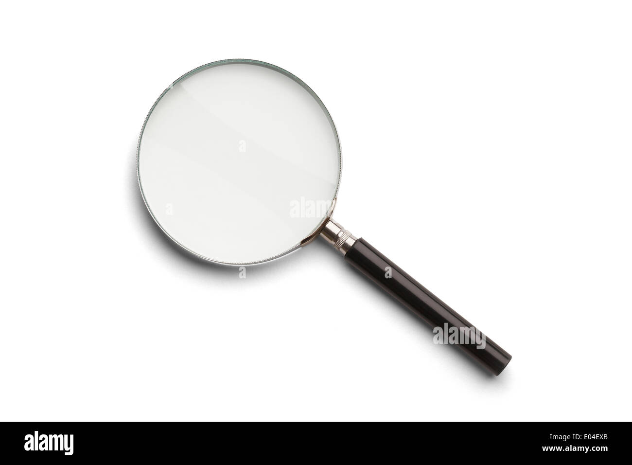 Black and Silver Magnifying Glass Isolated on a White Background. - Stock Image
