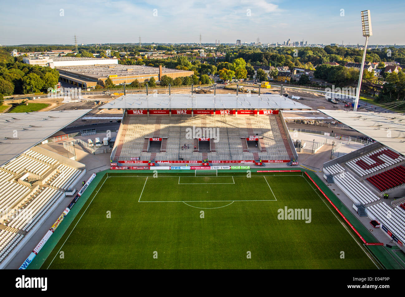 Football, soccer stadium of Germany Rot-Weiss-Essen soccer club. - Stock Image