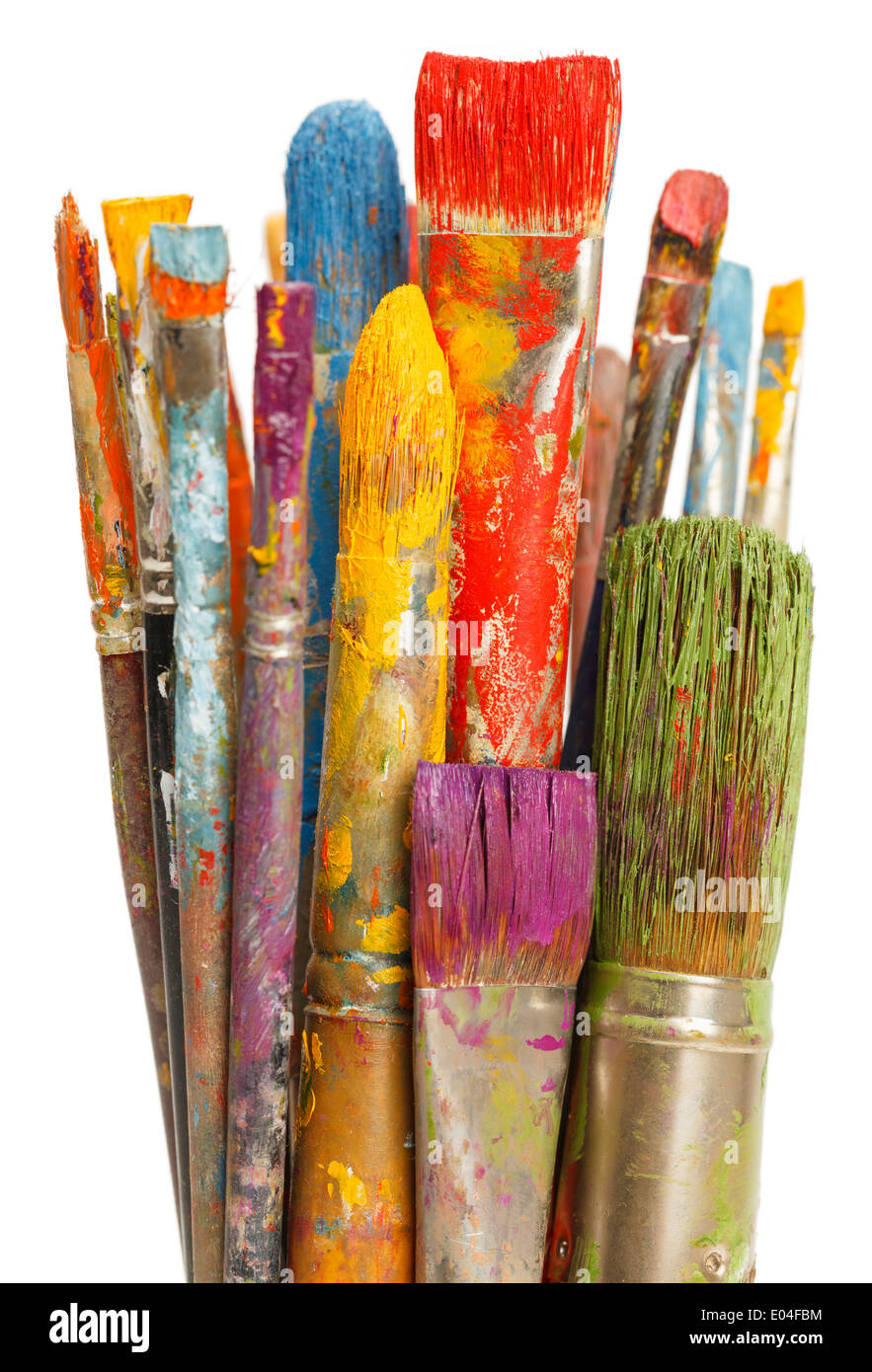 Group of Paint Brushes with Differnet Color Paints on Them Isolated on White Background. - Stock Image