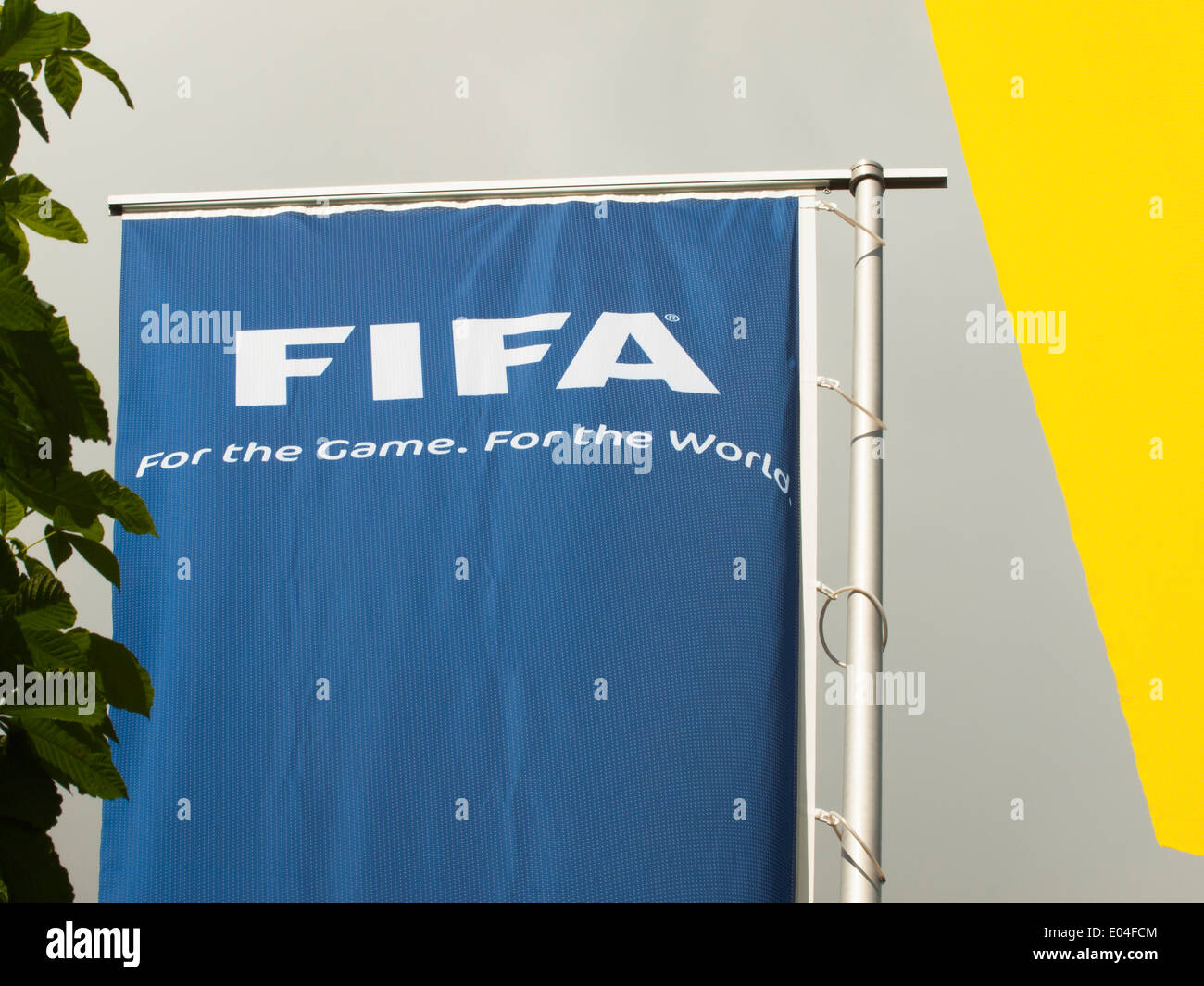 FIFA flags at the entrance to the FIFA headquarters in Zurich, Switzerland - Stock Image