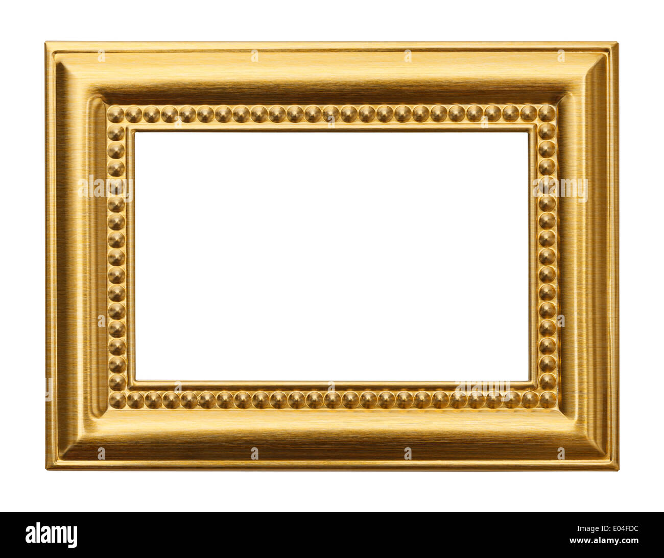 Gold Frame with Copyspace Isolated on White Background - Stock Image