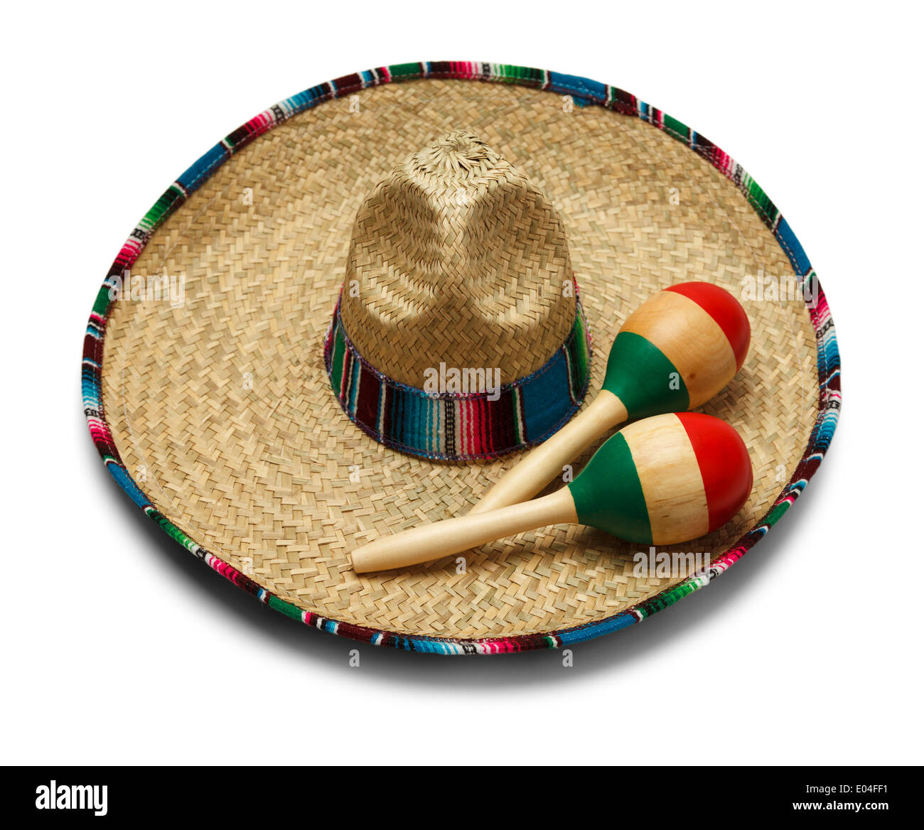 Fiesta Hat with Maracas Isolated on White Background. - Stock Image
