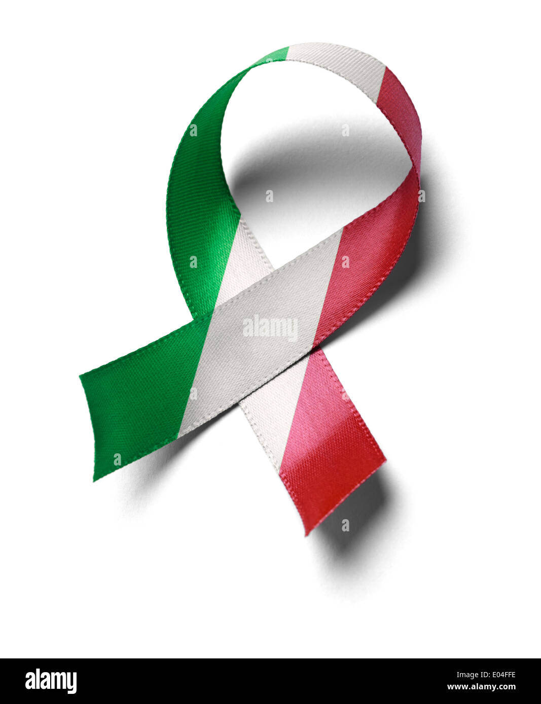 Support Mexico flag colors ribbon isolated on white background. - Stock Image