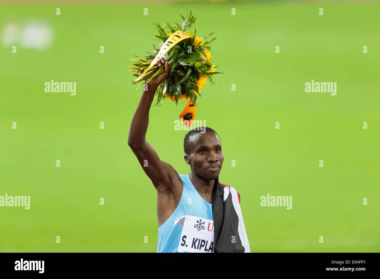 Silas Kiplagat (KEN) after winning the men's 1500m race at IAAF Diamond League 'Weltklasse Zürich' in Zurich. - Stock Image