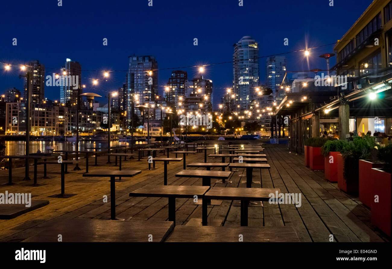 Empty Tables On An Outdoor Patio Of A Restaurant On Granville Island Stock Photo Alamy