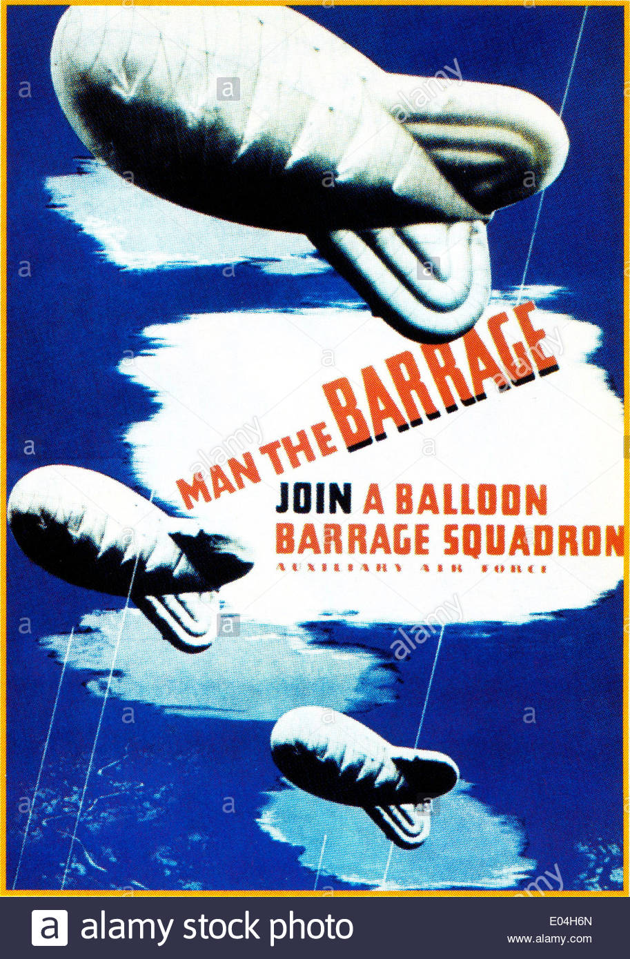 'Join a Balloon Barrage Squadron' British recruitment wartime poster - Stock Image