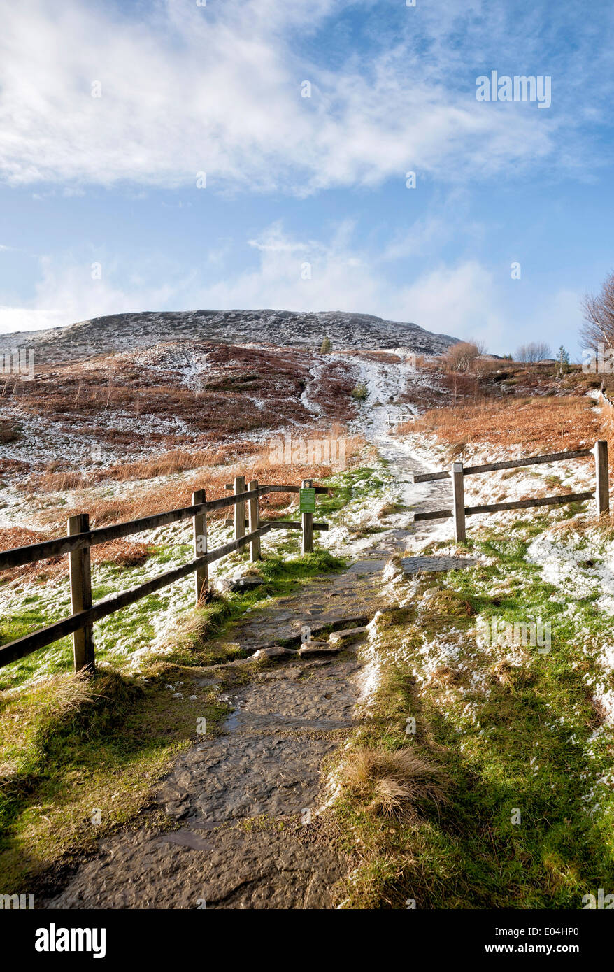 The first snow of the year at Hasty Bank, near Stokesley - Stock Image