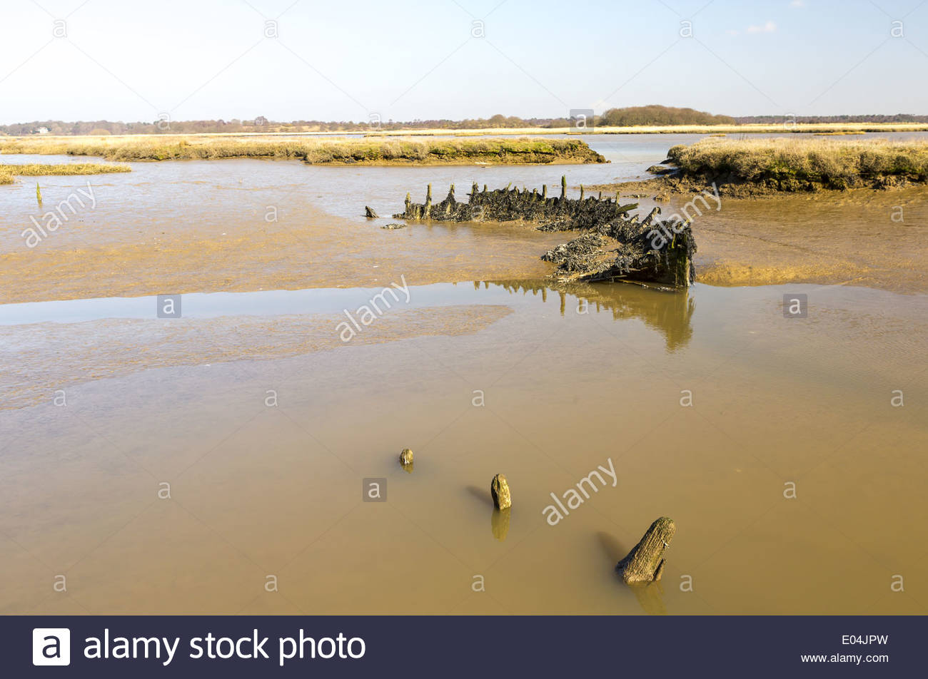 old timbers from a rotten hull pierce the river surface, Snape Maltings and Marshes, near Aldeburgh, Suffolk, England, UK - Stock Image