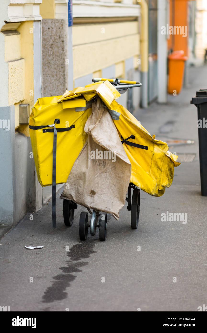 The backpack of a mailman by the delivery of the post, Der Rucksack eines Brieftraegers beim Austragen der Post Stock Photo