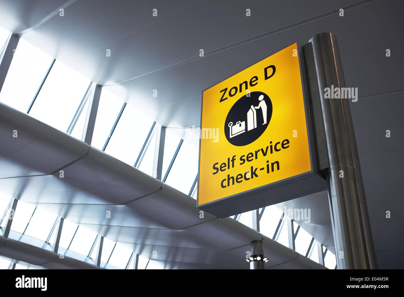 London Heathrow airport terminal 2 interior signage - Stock Image