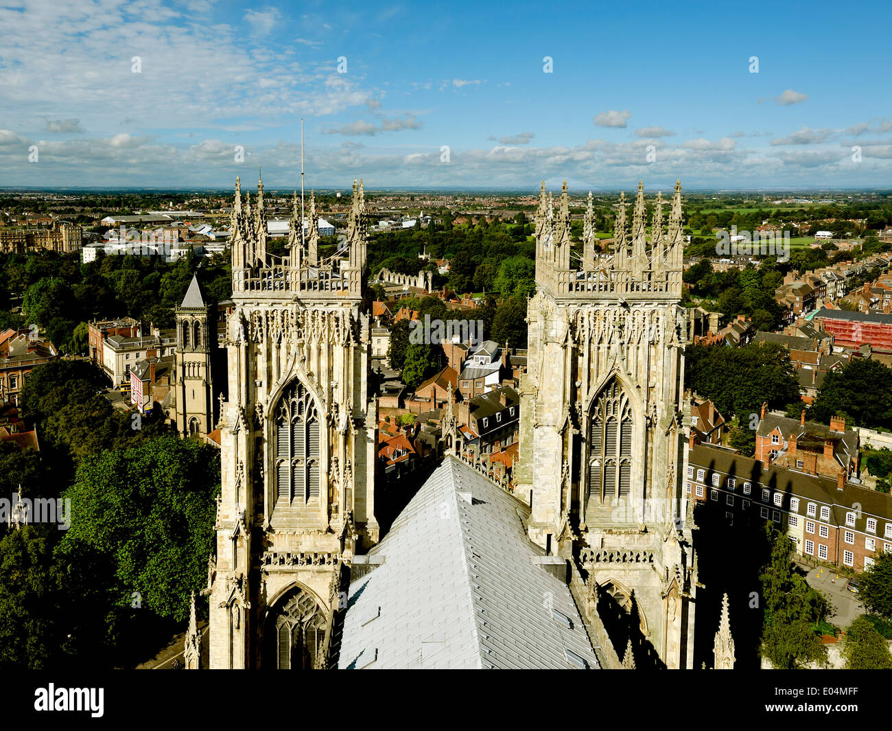 YORK MINSTER , VIEW FROM THE ROOF OF YORK MINSTER YORKSHIRE ENGLAND UK - Stock Image