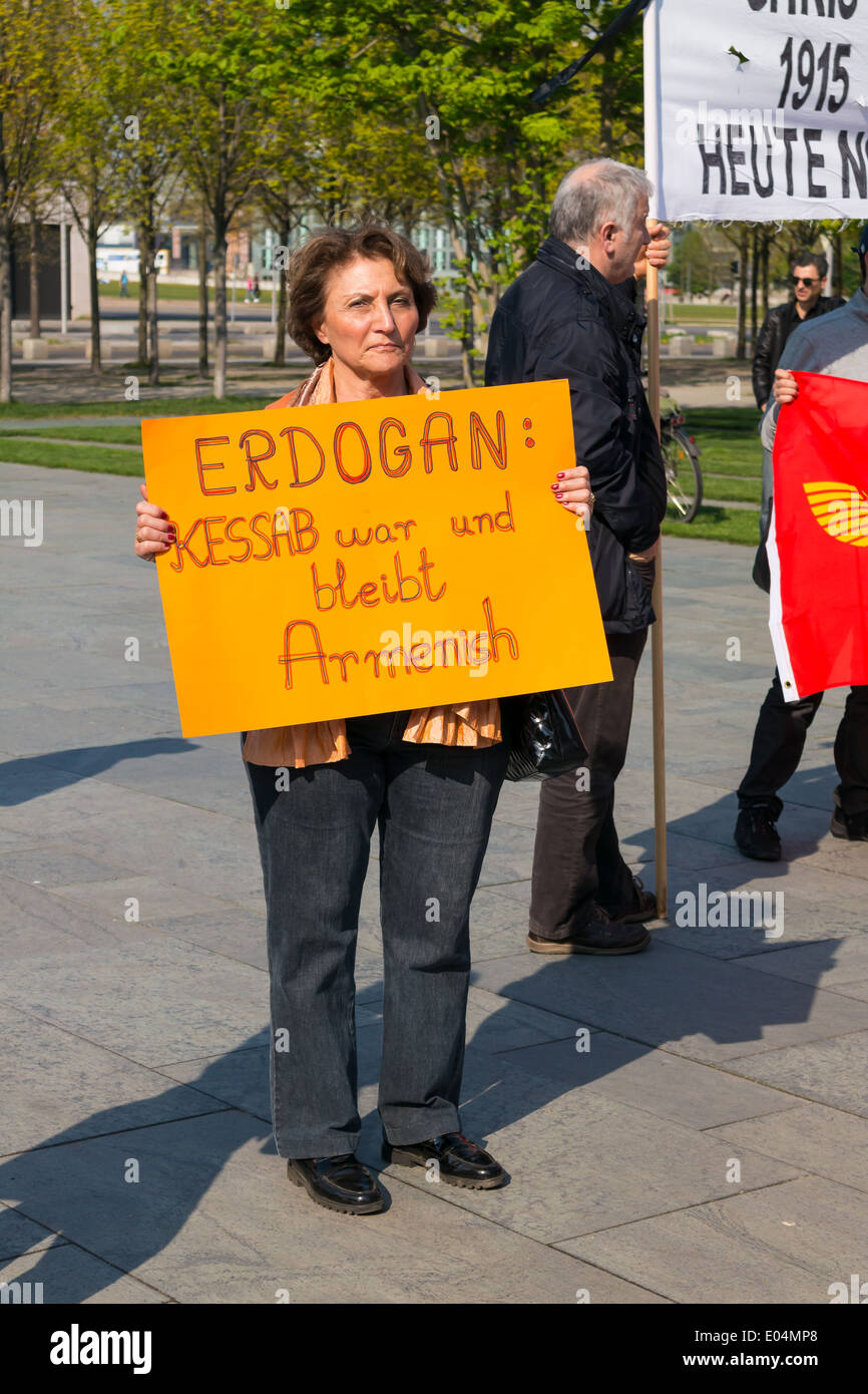 Protest against the denial of the Armenian Genocide by Turkey during the Ottoman Empire. - Stock Image