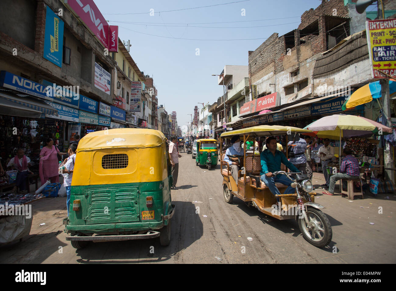Auto rikshaws at the main bazar Paharganj, Central Delhi India. Stock Photo
