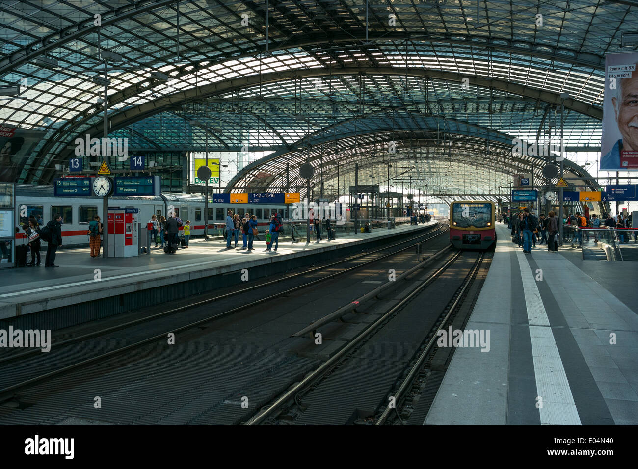 Berlin Central Station. Railway platform. The central station of Berlin - the largest and modern railway station of Europe - Stock Image