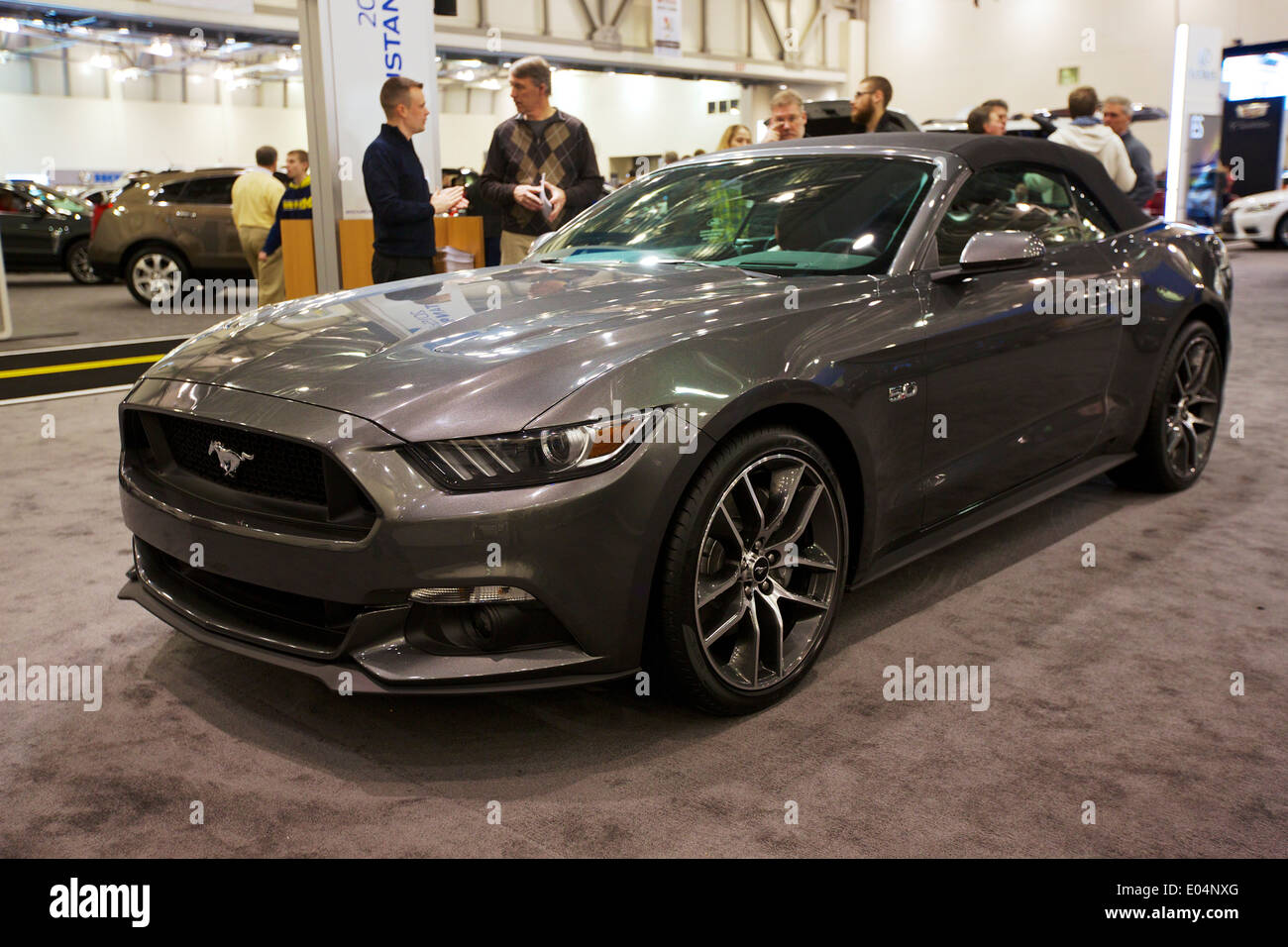 2015 Ford Mustang Convertible Prototype At The Michigan International Auto Show In Grand Rapids February 2014